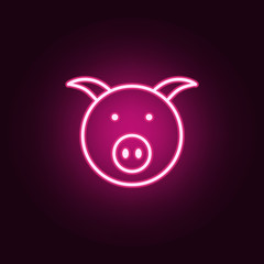 pig face icon. Elements of web in neon style icons. Simple icon for websites, web design, mobile app, info graphics