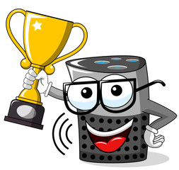 smart speaker cartoon funny winner cup isolated on white