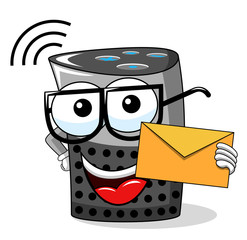 smart speaker cartoon funny envelope message isolated on white