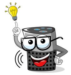 smart speaker cartoon funny idea innovation lightbulb isolated on white
