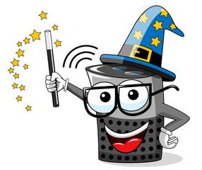 smart speaker cartoon funny wizard magic stick isolated on white