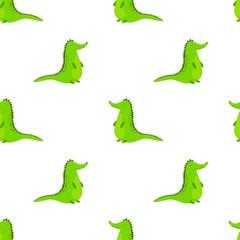 Seamless pattern with cute cartoon crocodile. Vector kids background.