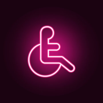 badge of a disabled person icon. Elements of web in neon style icons. Simple icon for websites, web design, mobile app, info graphics