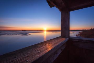 Meerbruch am Steinhuder Meer an einem frühen Morgen