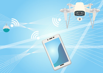 人工知能のイメージ。 近未来のイメージ素材。 近未来のテクノロジー。 人工知能と通信。 人工知能とネットワークのイメージ。 テクノロジーのクリップアート。