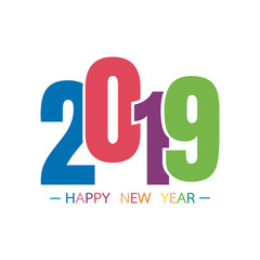 Happy new year 2019 with text colorful for celebration, party, and new year event. Vector illustration