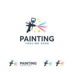 Magic Painting logo designs template vector, Art Logo template, Spray Gun Painting logo