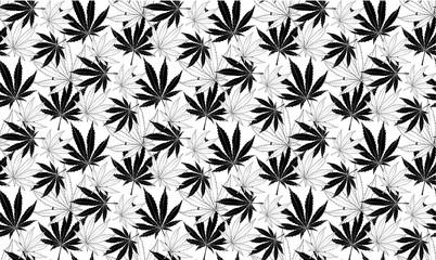 Black and white Marijuana leaves seamless vector pattern.