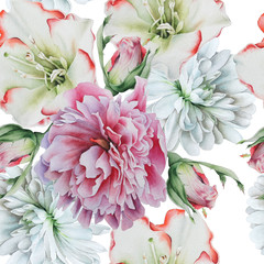 Bright seamless pattern with flowers. Peony. Rose. Chrysanthemum. Watercolor illustration.Hand drawn.