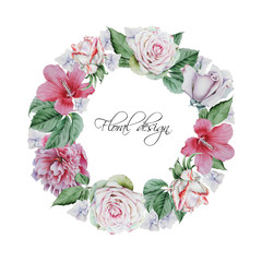 Wreath with watercolor flowers and leaves. Hand drawn