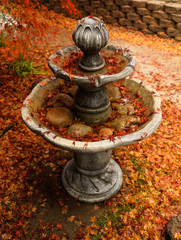 A beautiful fall landscape scene of red Japanese Maple tree leaves falling on and around a metal water fountain.