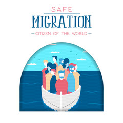 Diverse refugee people on boat for safe migration