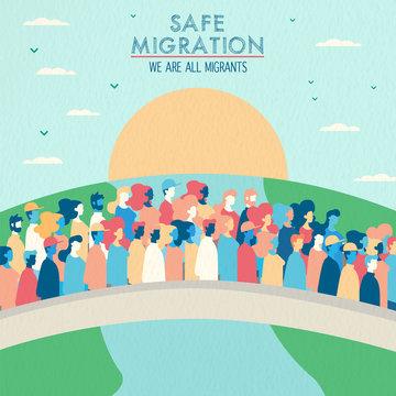 Safe migration concept of people crossing bridge