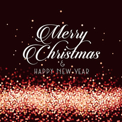 Merry Christmas and Happy New Year on sparkle glittering background, vector illustration.