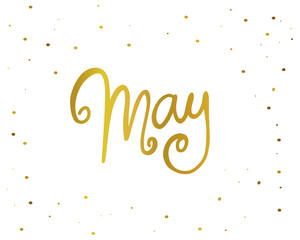May handwriting lettering gold color vector illustration