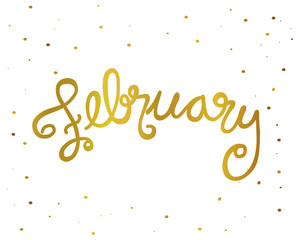 February handwriting lettering gold color vector illustration