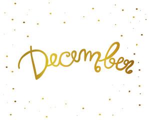 December handwriting lettering gold color vector illustration