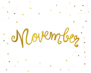 November handwriting lettering gold color vector illustration