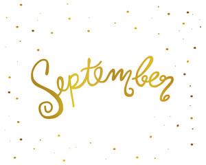 September handwriting lettering gold color vector illustration