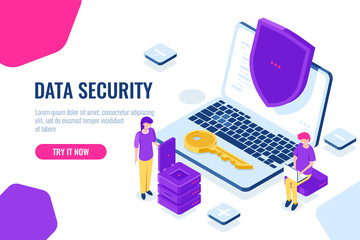 Protection and security of computer data isometric, laptop with shield, man sit on chair with laptop, women engineer, cartoon landing page