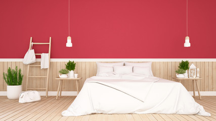Bedroom and living area on red wall decorate in Apartment or hotel - Interior simple Design - 3D Rendering