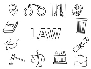 law doodle art with outline style hand drawn sketching icon vector illustration