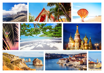 Wall Mural - Travel collage. Different destination from over the world for vacation and travel Can be used for cover design, brochures, flyers. With space for text