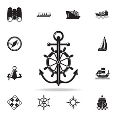 anchor with steering wheel icon. Detailed set of ship icons. Premium graphic design. One of the collection icons for websites, web design, mobile app