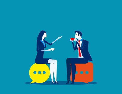 Business people meeting talking. Concept business vector illustration, Speech bubble, Meeting.