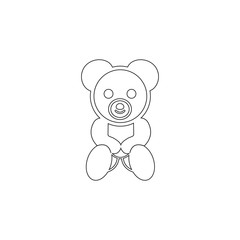 Teddy bear plush toy icon. Toy element icon. Premium quality graphic design icon. Baby Signs, outline symbols collection icon for websites, web design, mobile app on white background