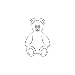 Teddy bear plush toy icon on white background