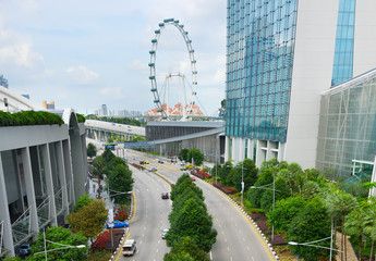 Cars road Singapore Flyer aerial