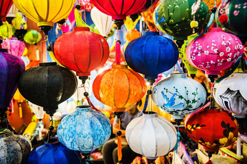 colorful paper lamps for sale at a shop in Vietnam