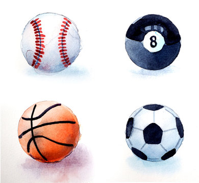 watercolor sports balls collection