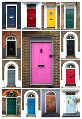 Collage of colorful doors in London in UK