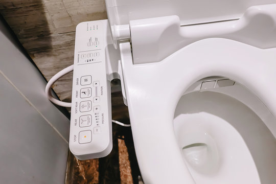 Modern high tech toilet with electronic bidet in Thailand. japan style toilet bowl, high technology sanitary ware.