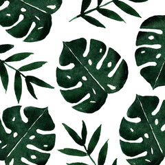 watercolor monstera leaves art background