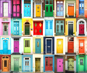 Collage of colorful international doors