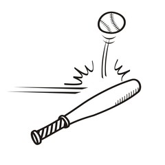 playing baseball hand drawn sketch.