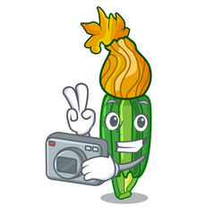 Photographer flowers character on a zuchini funny