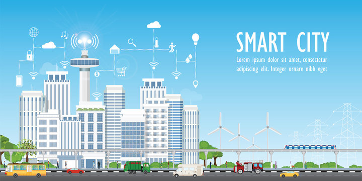 Smart city on urban landscape with different icons.