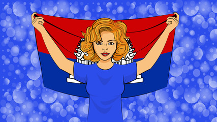 Blonde girl holding a national flag of Cambodia