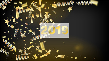 2019 Christmas Tinsel Confetti, Falling New Year Gold. Cool Glamour Christmas, New Year, Birthday Party Holiday Texture. Horizontal Magic Sparkles Background. Gold Christmas Tinsel Confetti