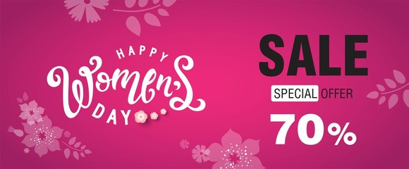 Happy Womens Day Sale banner with Flowers background