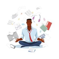 Businessman Meditating to Get Calm Flat Vector