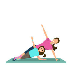 Happy Woman and Child Doing Fitness Training