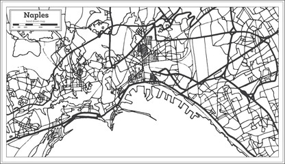 Naples Italy City Map in Retro Style. Outline Map.
