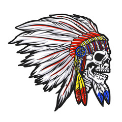 Indian  chief  skull illustration
