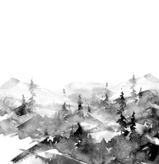 Watercolor picture of mountains, forest with pine trees, fir. Abstract vintage spots of black, white. On a white background. Postcard, picture, poster, logo.Suburban landscape watercolor, black ink.