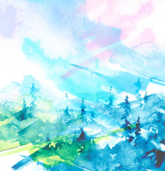 Watercolor art illustration. Drawing of the blue forest, pine tree, spruce. Dark, dense forest, suburban landscape. Postcard, logo, card. Misty forest, haze. Abstract Watercolor splash, logo